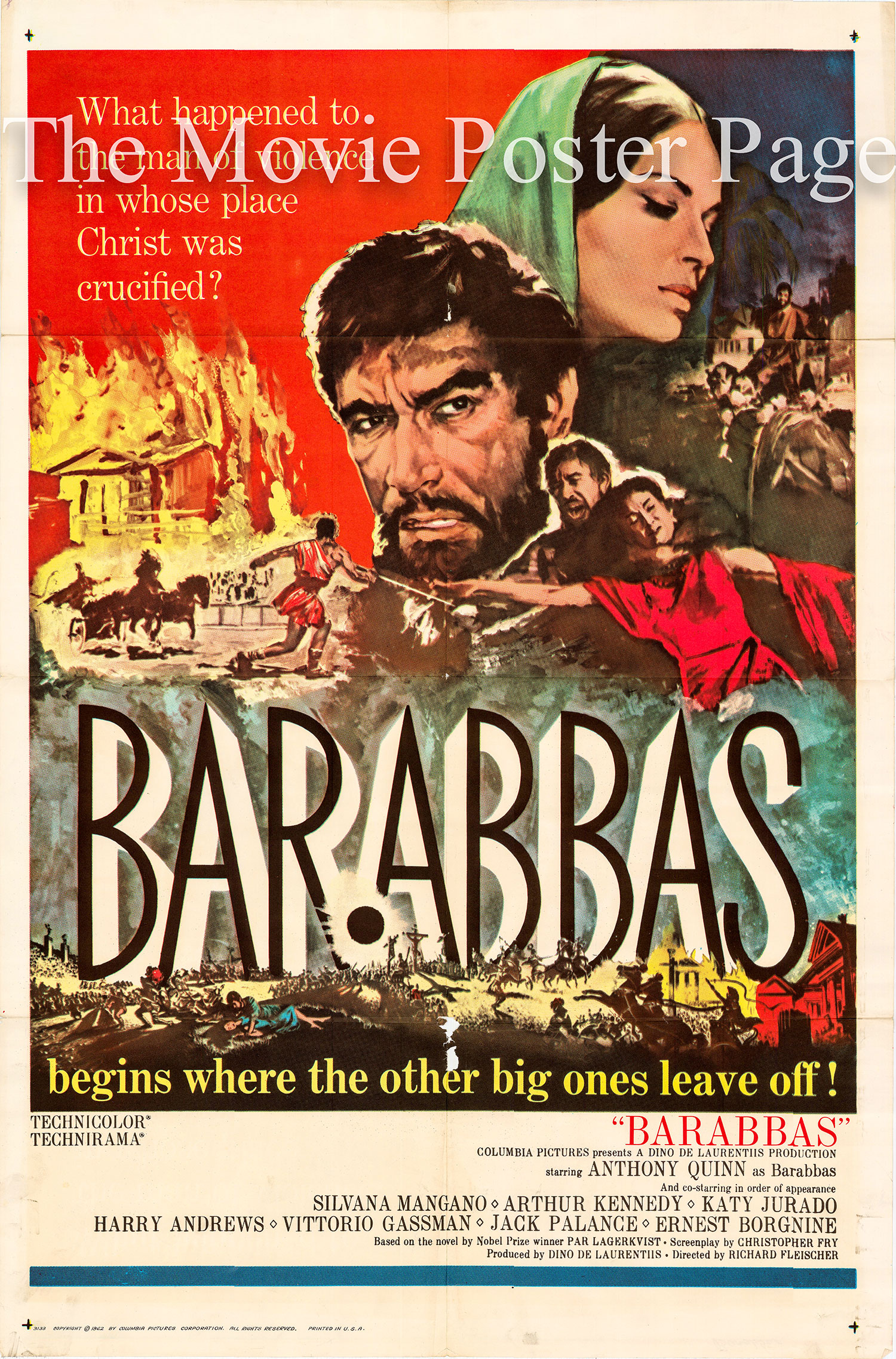 Pictured is a US one-sheet poster for the 1962 Richard Fleischer film Barabbas starring Anthony Quinn.