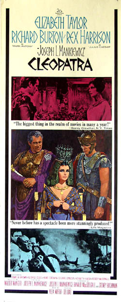 Pictured is a US promotional insert poster for the 1964 Joseph L. Mankiewicz film Cleopatra starring Elizabeth Taylor.