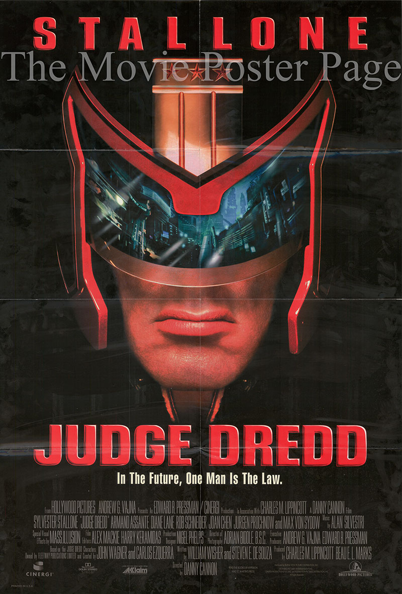 Pictured is a US one-sheet poster for the 1995 Danny Cannon film Judge Dredd starring Sylvester Stallone as Judge Dredd.
