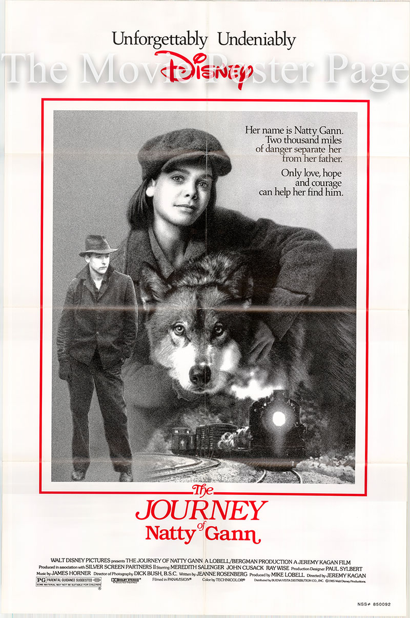 Pictured is a US one-sheet poster for the 1985 Jeremy Kagan film The Journey of Natty Gann, starring Meredith Salenger.