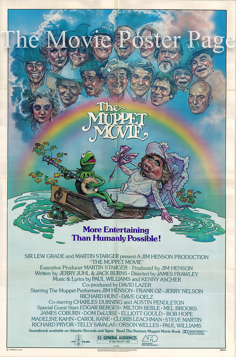 Pictured is a US one-sheet poster for the 1979 James Frawley film The Muppet Movie, starring Jim Henson as the voice of Kermit the Frog.