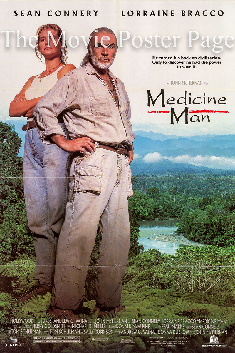 Pictured is a US one-sheet poster for the 1992 John McTiernan film Medicine Man starring Sean Connery as Dr. Robert Campbell.