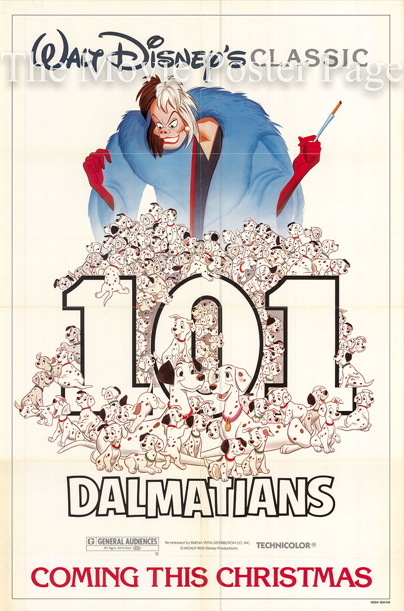 Pictured is a US one-sheet poster for a 1985 rerelease of the 1961 Clyde Geronimi and Hamilton Luske film 101 Dalmatians starring Rod Taylor as the voice of Pongo.