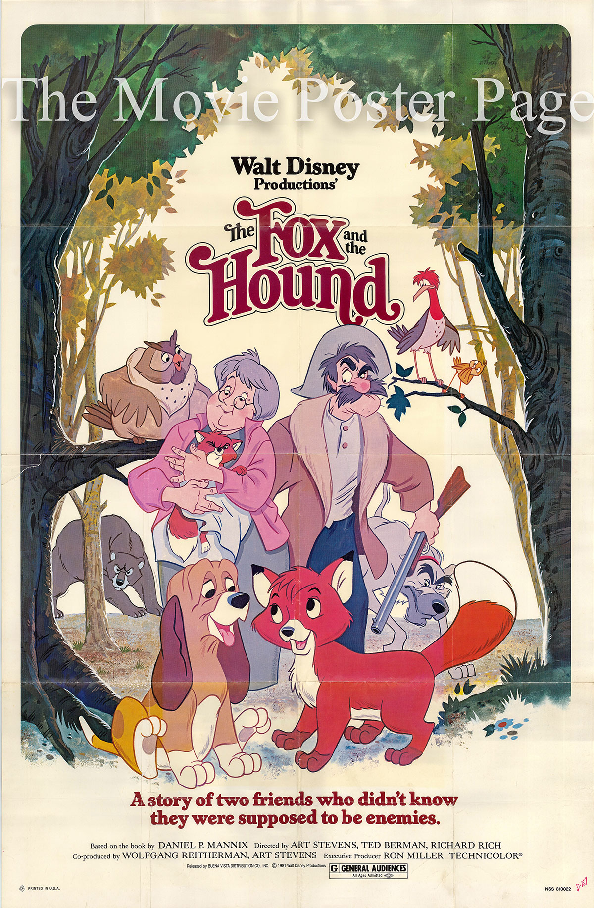 Pictured is a US one-sheet for the 1981 Walt Disney film The Fox and the Hound.