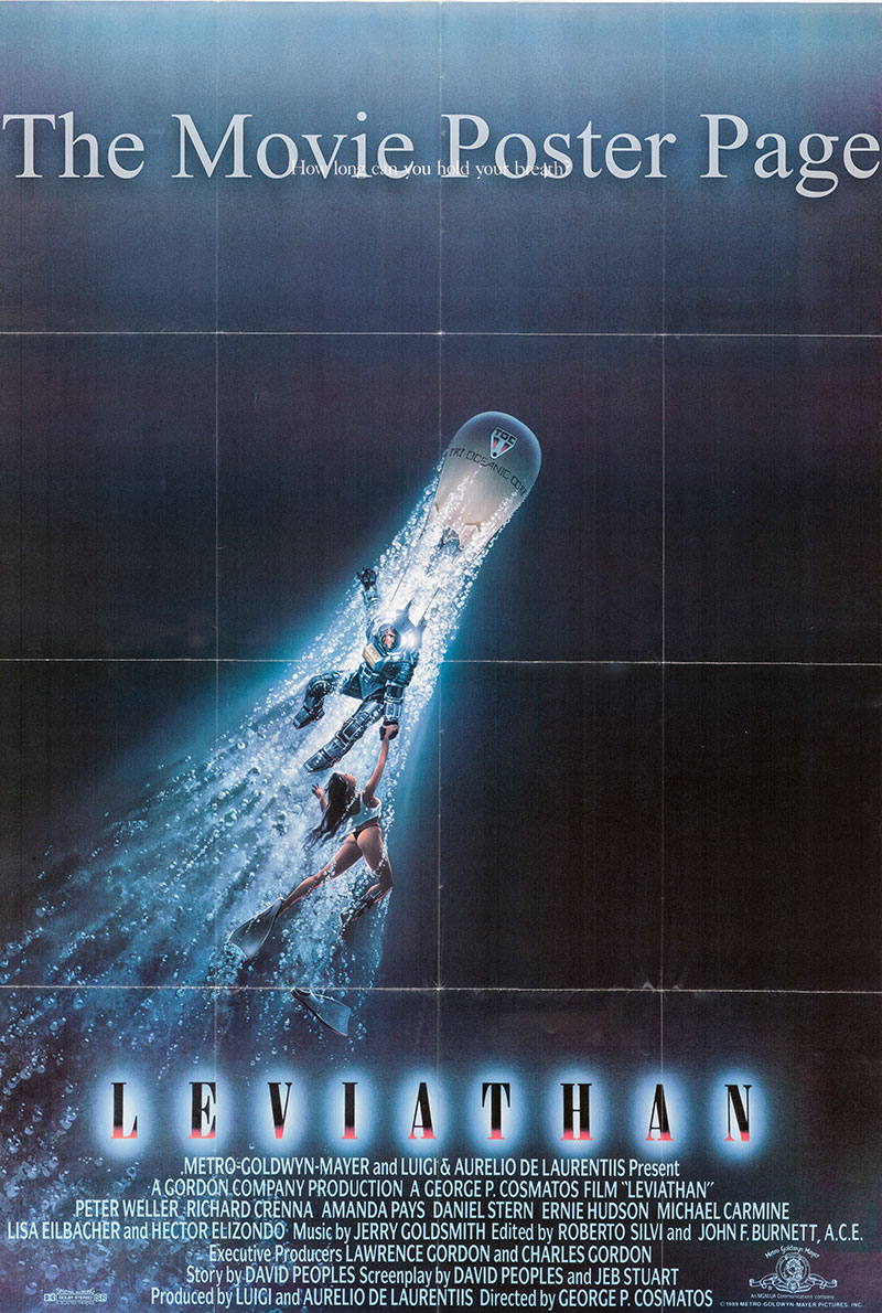 Pictured is a US one-sheet poster for the 1989 George P. Cosmatos film Leviathan starring Peter Weller.