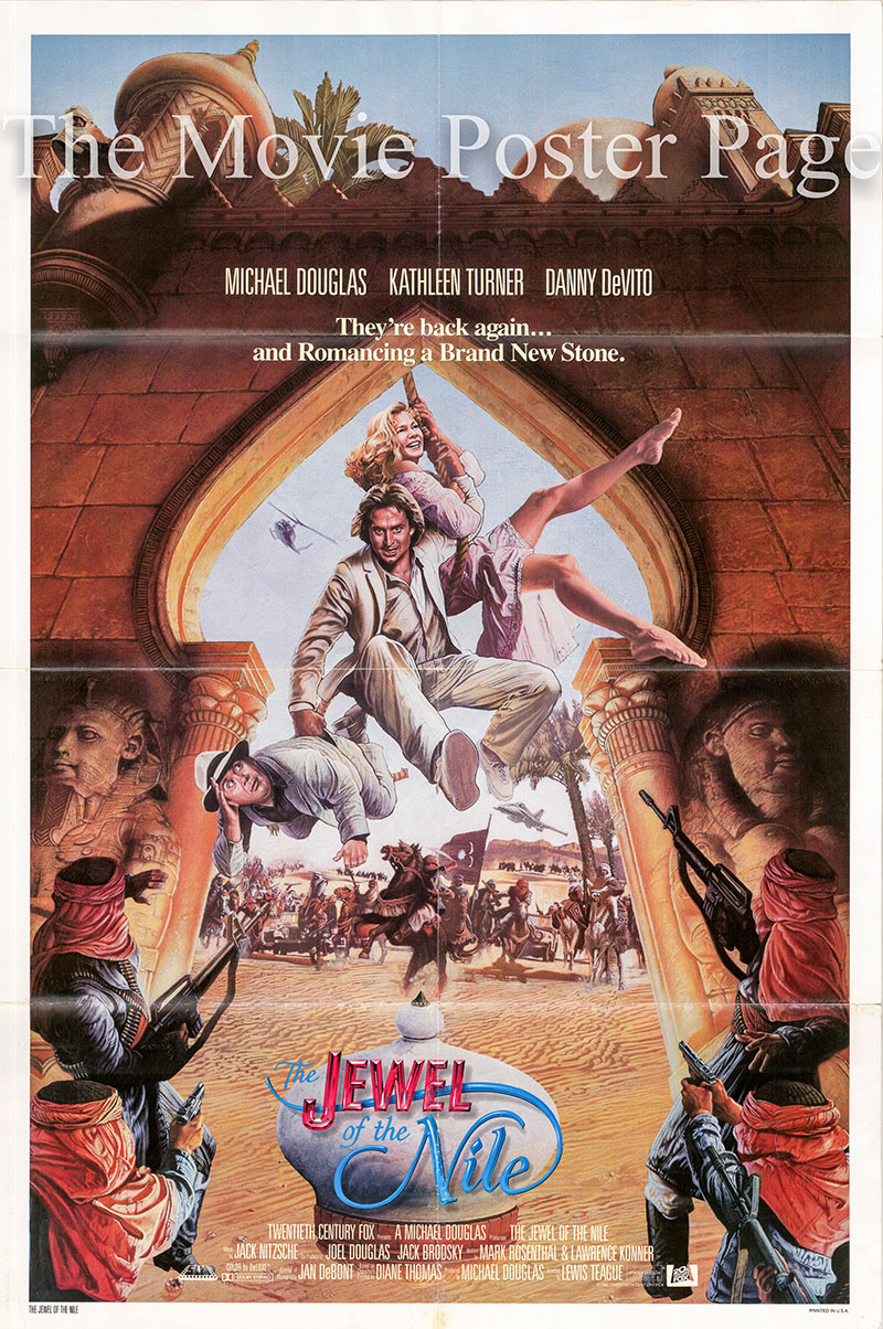 Pictured is a US one-sheet promotional poster for the 1985 Lewis Teague film Jewel of the Nile starring Michael Douglas.