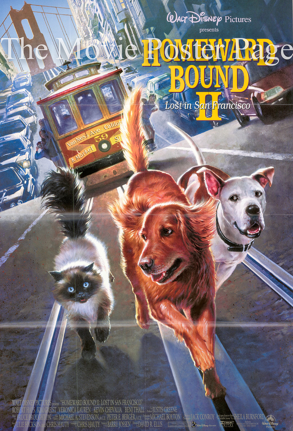 Pictured is a US one-sheet promotional poster for the 1996 David R. Ellis film Homeward Bound II: Lost in San Francisco starring Veronica Lauren.