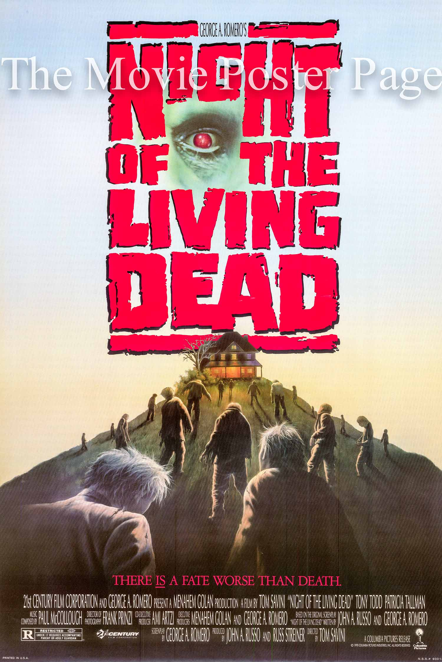 Pictured is a US promotional poster for the 1990 Tom Savini film The Night of the Living Dead based on a screenplay by George Romera and starring Tony Todd.