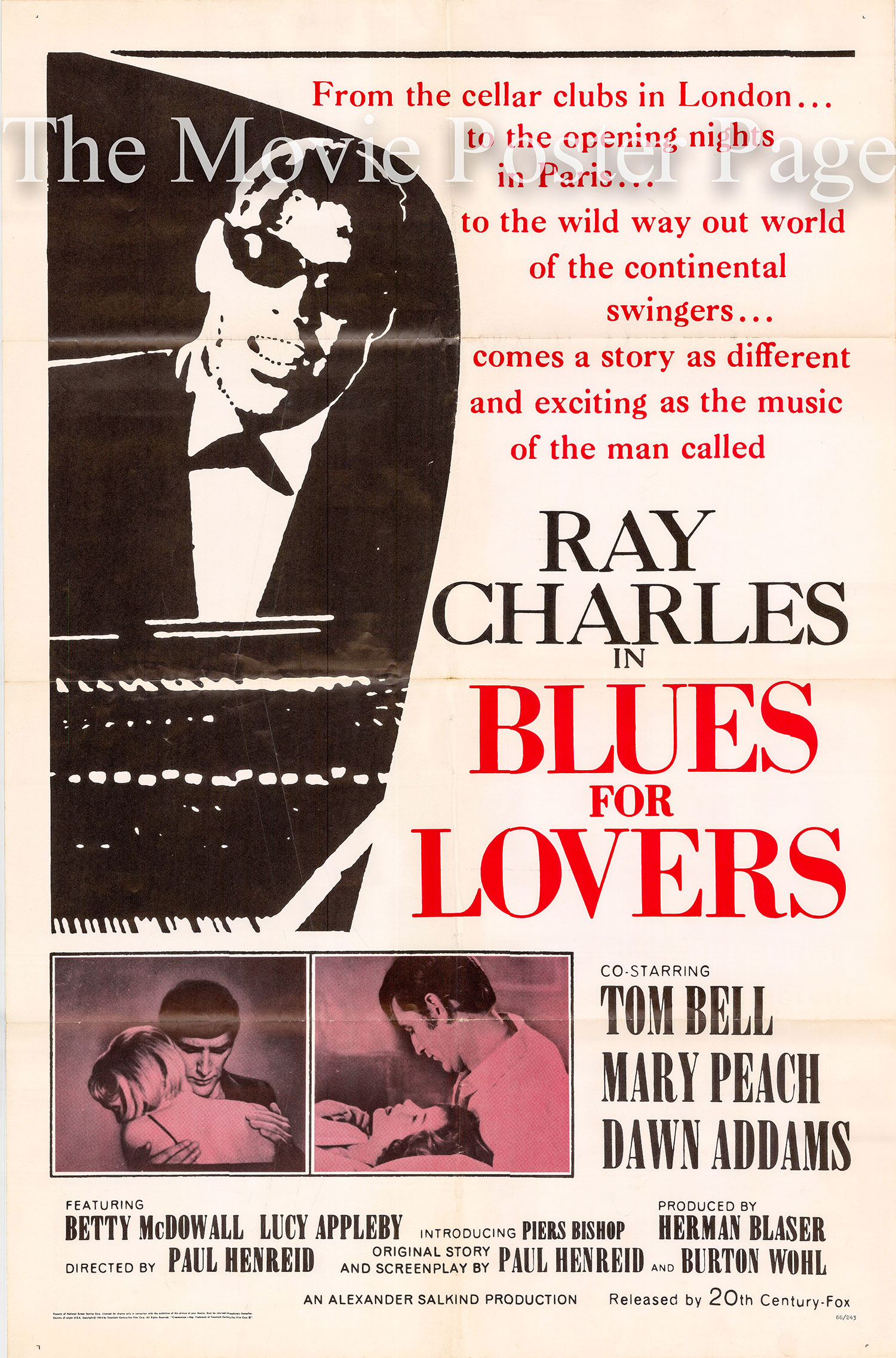 Pictured is a US one-sheet promotional poster for the 1966 > Paul Henreid film Blues for Lovers starring Ray Charles.