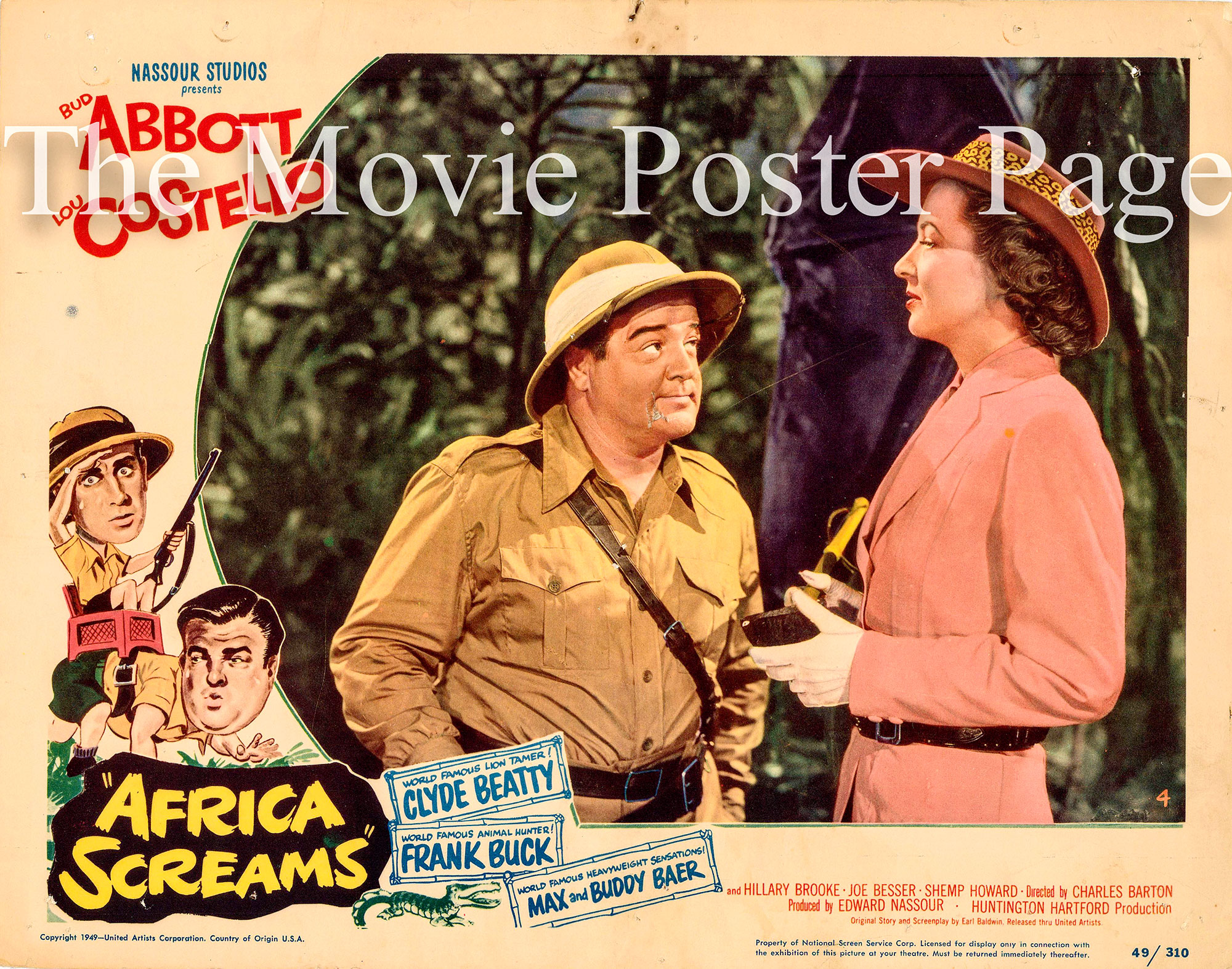 Pictured is the #4 lobby card from the 1949 Charles Barton film Africa Screams starring Bud Abbott and Lou Costello.