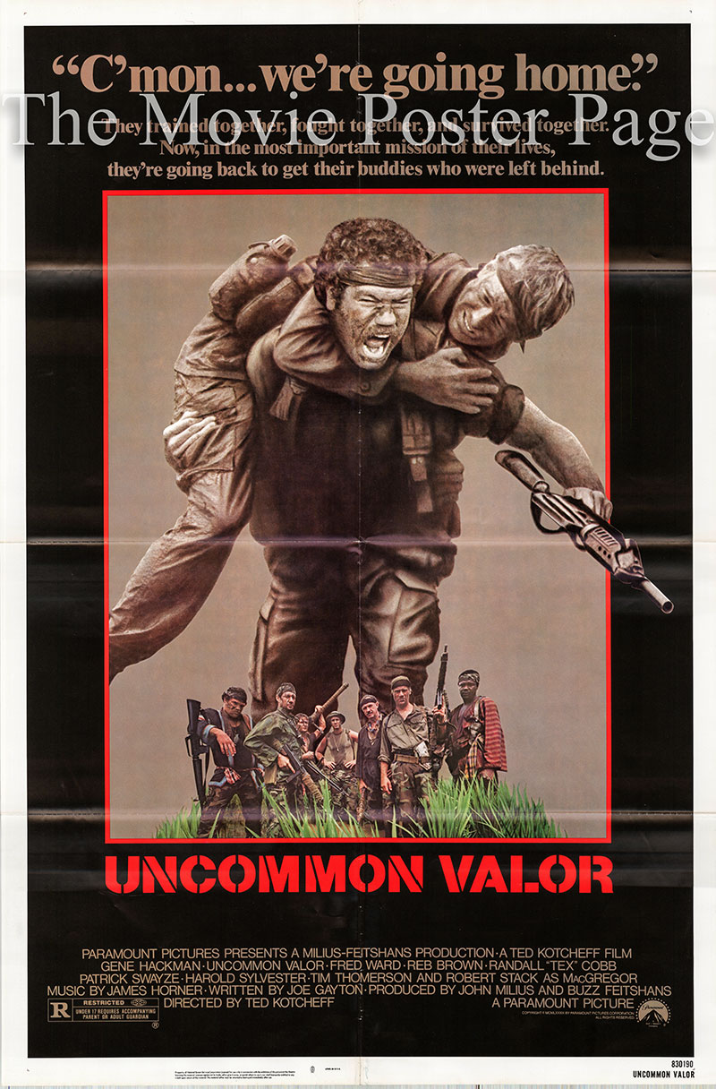 Pictured is a US one-sheet promotional poster for the 1983 Ted Kotcheff film Uncommon Valor starring Gene Hackman.