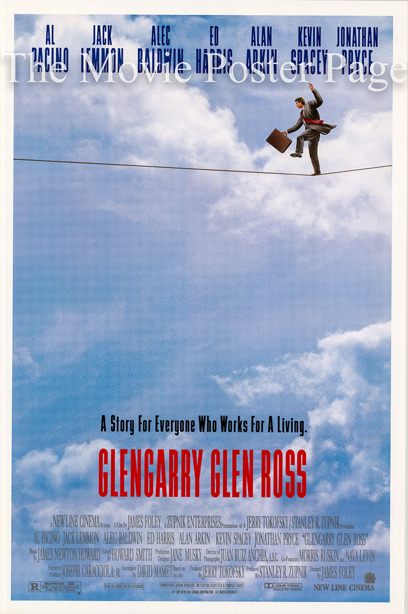 Pictured is a US one-sheet promotional poster for the 1992 James Foley film Glengarry Glen Ross, starring Al Pacino and Jack Lemmon.