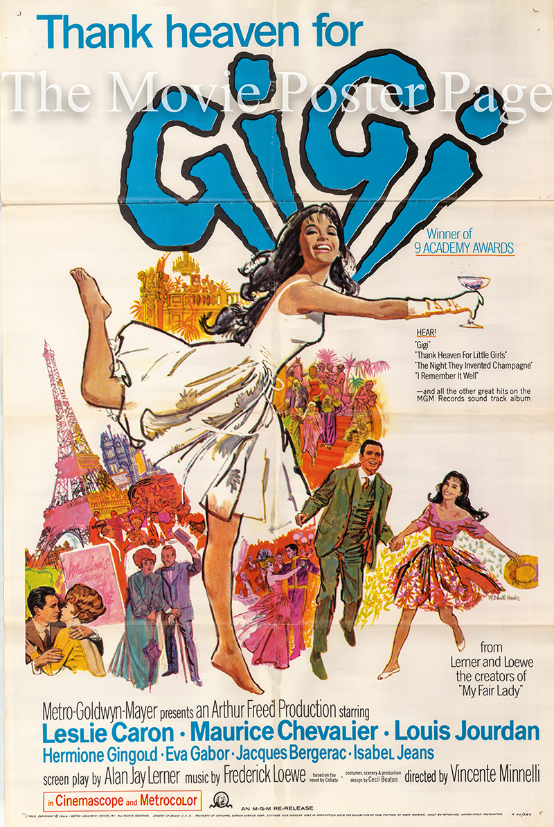 Pictured is a US one-sheet poster for a 1966 rerelease of the 1958 Vincente Minnelli film Gigi starring Leslie Caron.