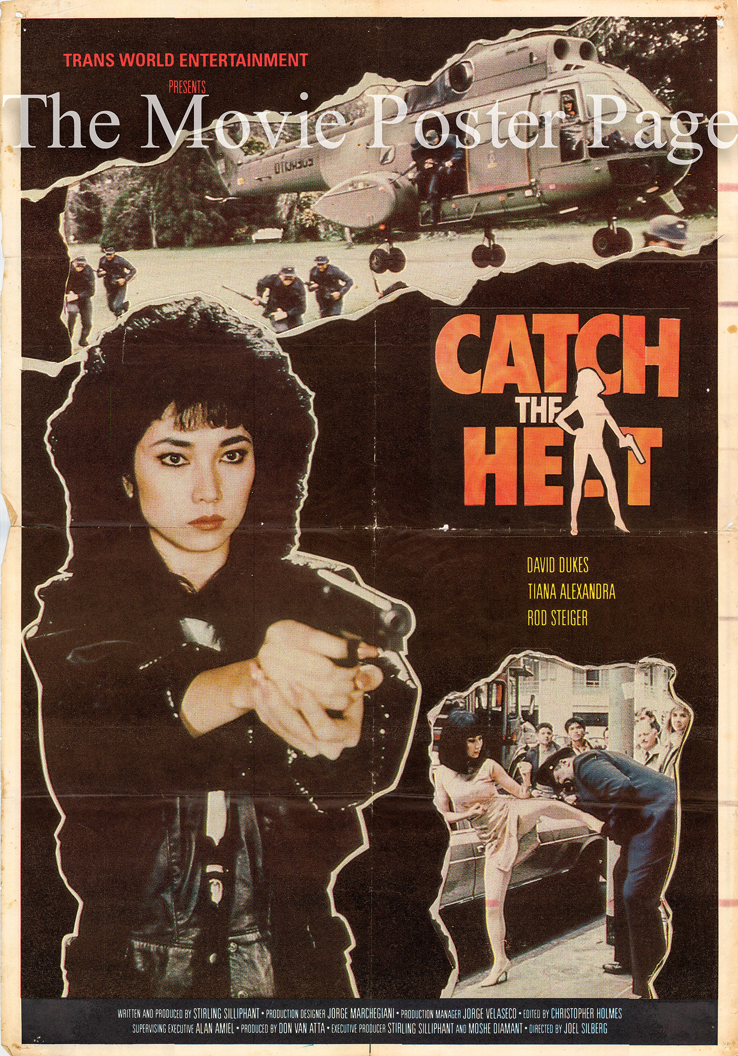 Pictured is a one-sheet promotional poster for the 1987 Joel Silberg film Catch the Heat starring Tiana Alexandra.
