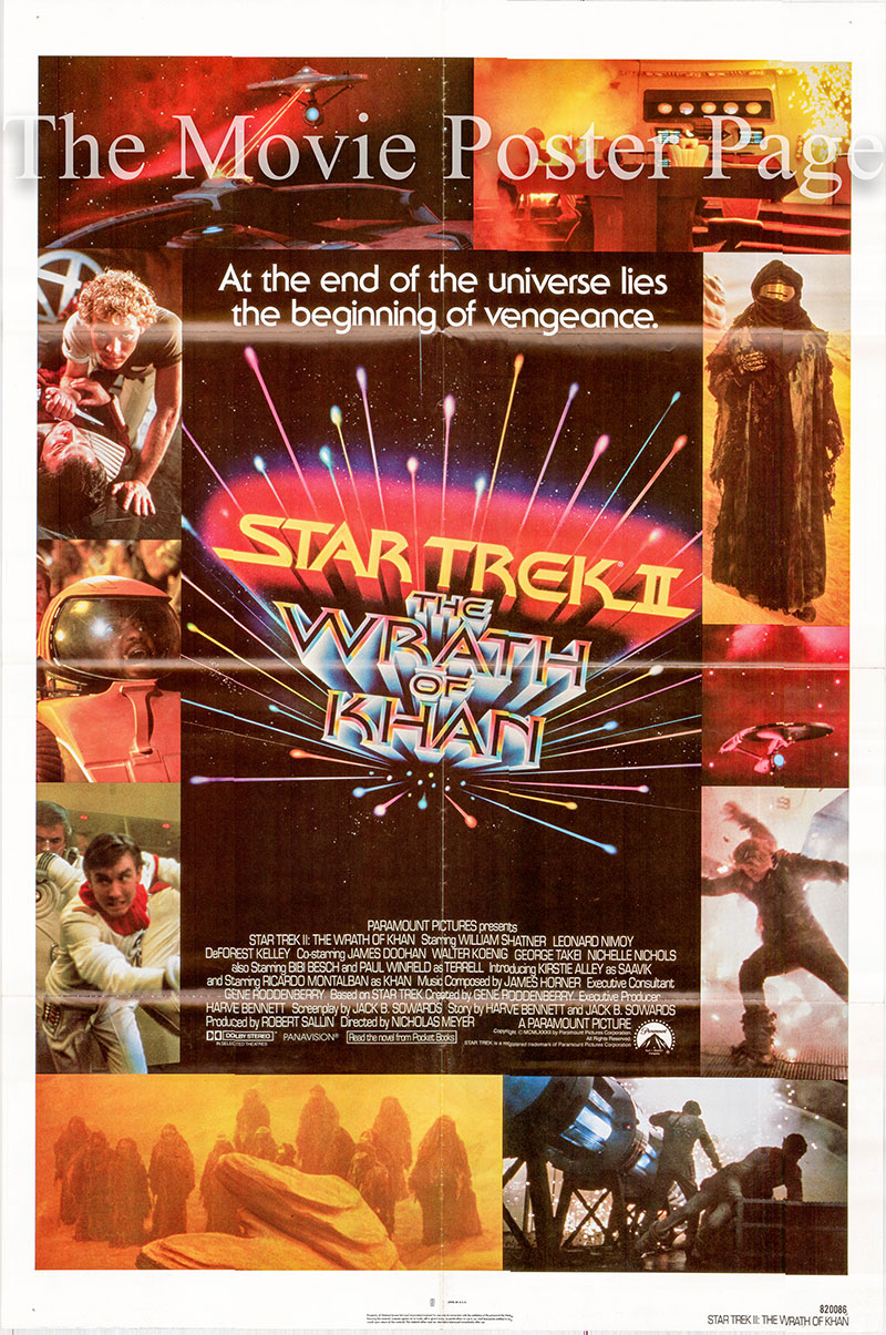 Pictured is a US one-sheet poster for the 1982 Nicholas Meyer film Star Trek II: The Wrath of Khan starring William Shatner as Kirl.