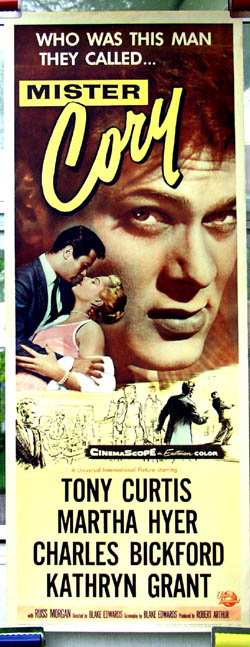 Pictured is a US promotional poster for the 1957 Blake Edwards film Mr. Cory starring Tony Curtis as Cory.