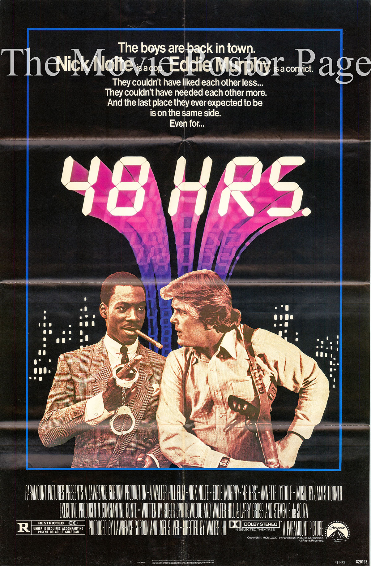 Pictured is a US one-sheet for the 1982 Walter Hill film 48 Hours starring Nick Nolte and Eddie Murphy.