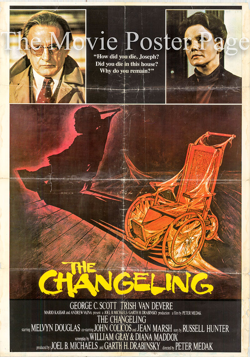 Pictured is an Italian promotional poster for the 1980 Peter Medak film The Changeling starring George C. Scott.