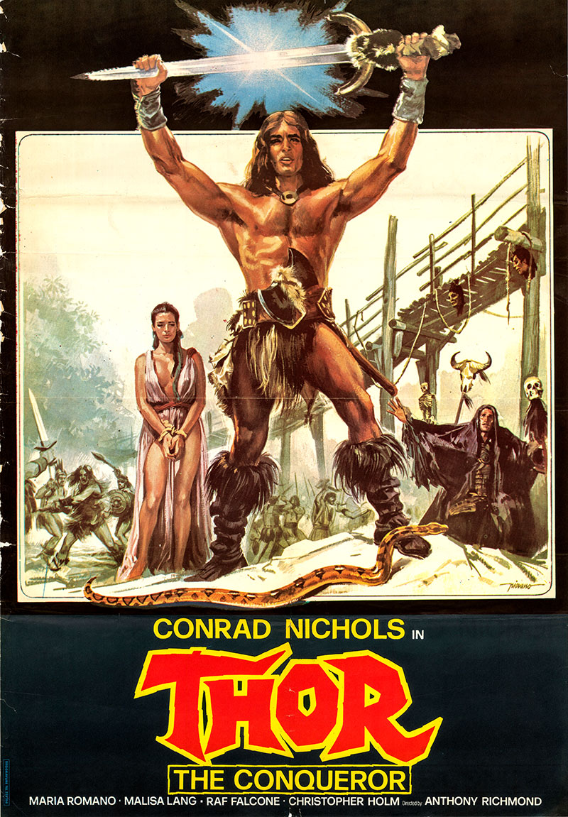 Pictured is an Italian one-sheet poster for the 1983 Tonino Ricci film Thor the Conqueror starring Bruno Minniti (Conrad Nichols) as Thor.