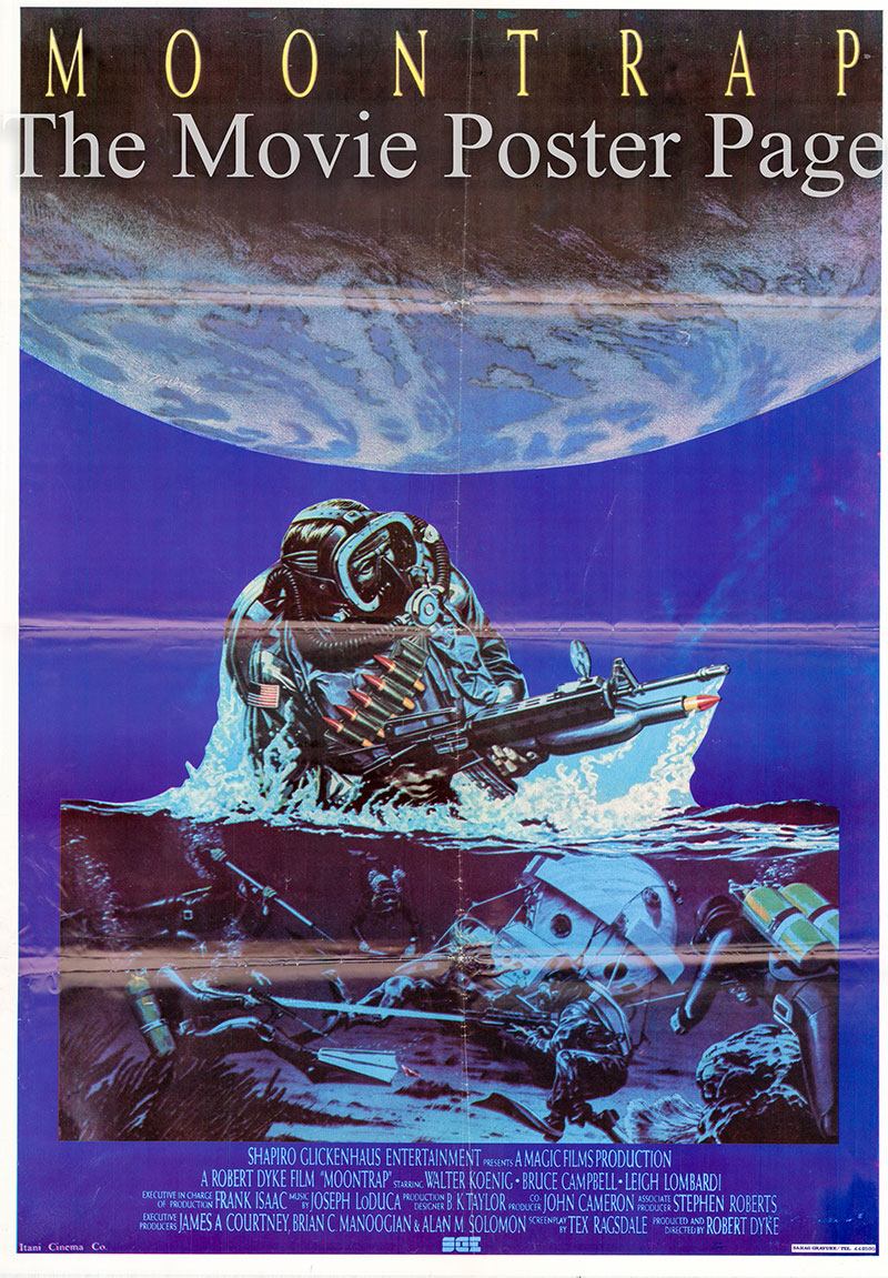 Pictured is an Lebanese promotional poster for the 1989 Robert Dyke film Moontrap starring Walter Koenig.