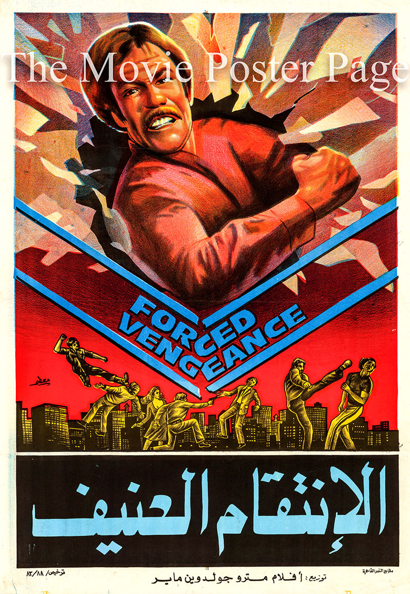 Pictured is an Egyptian promotional poster for the 1982 James Fargo film Forced Vengeance, starring Chuck Norris.