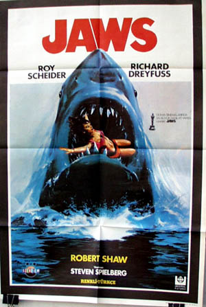 Pictured is a Turkish promotional poster for the 1975 Steven Spielberg film Jaws starring Richard Dreyfus.