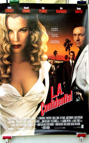 Pictured is a video promotional poster for the 1997 Curtis Hanson film L.A. Confidential starring Kevin Spacy and Kim Basinger.