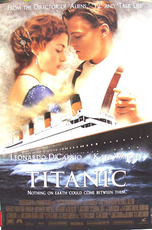 Pictured is the international style B one-sheet promotional poster for the 1997 James Cameron film Titanic starring Leonardo DiCaprio and Kate Winslet.