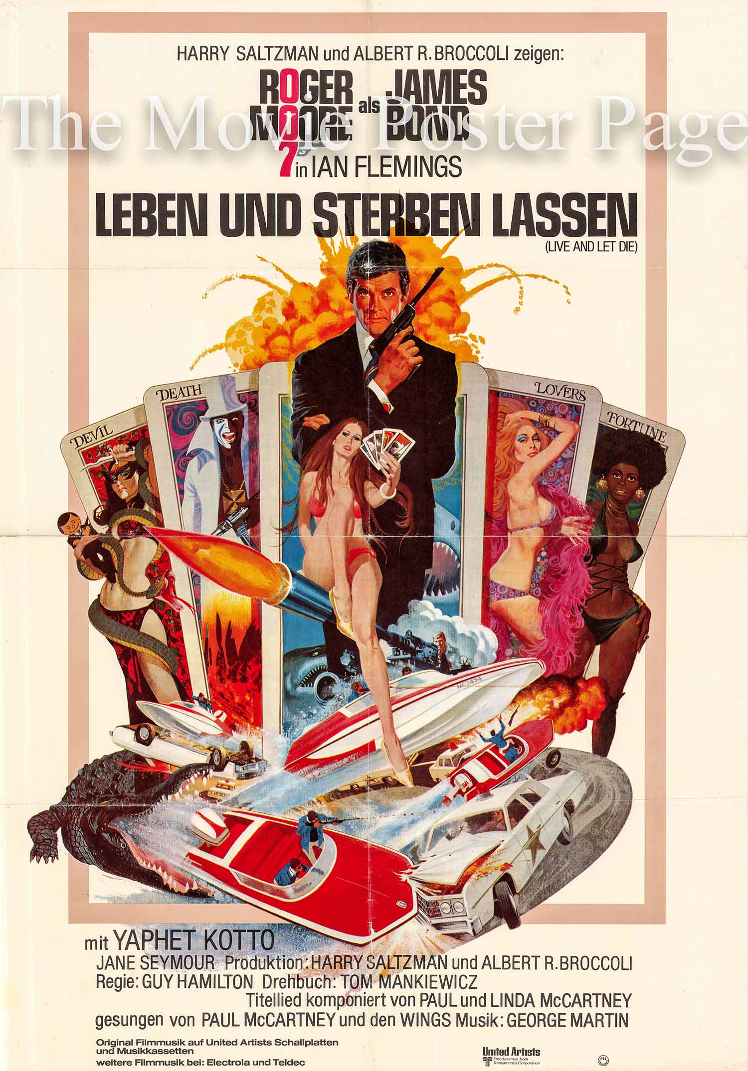 Pictured is a German promotional poster made to promote the 1973 Guy Hamilton film Live and Let Die starring Roger Moore as James Bond.