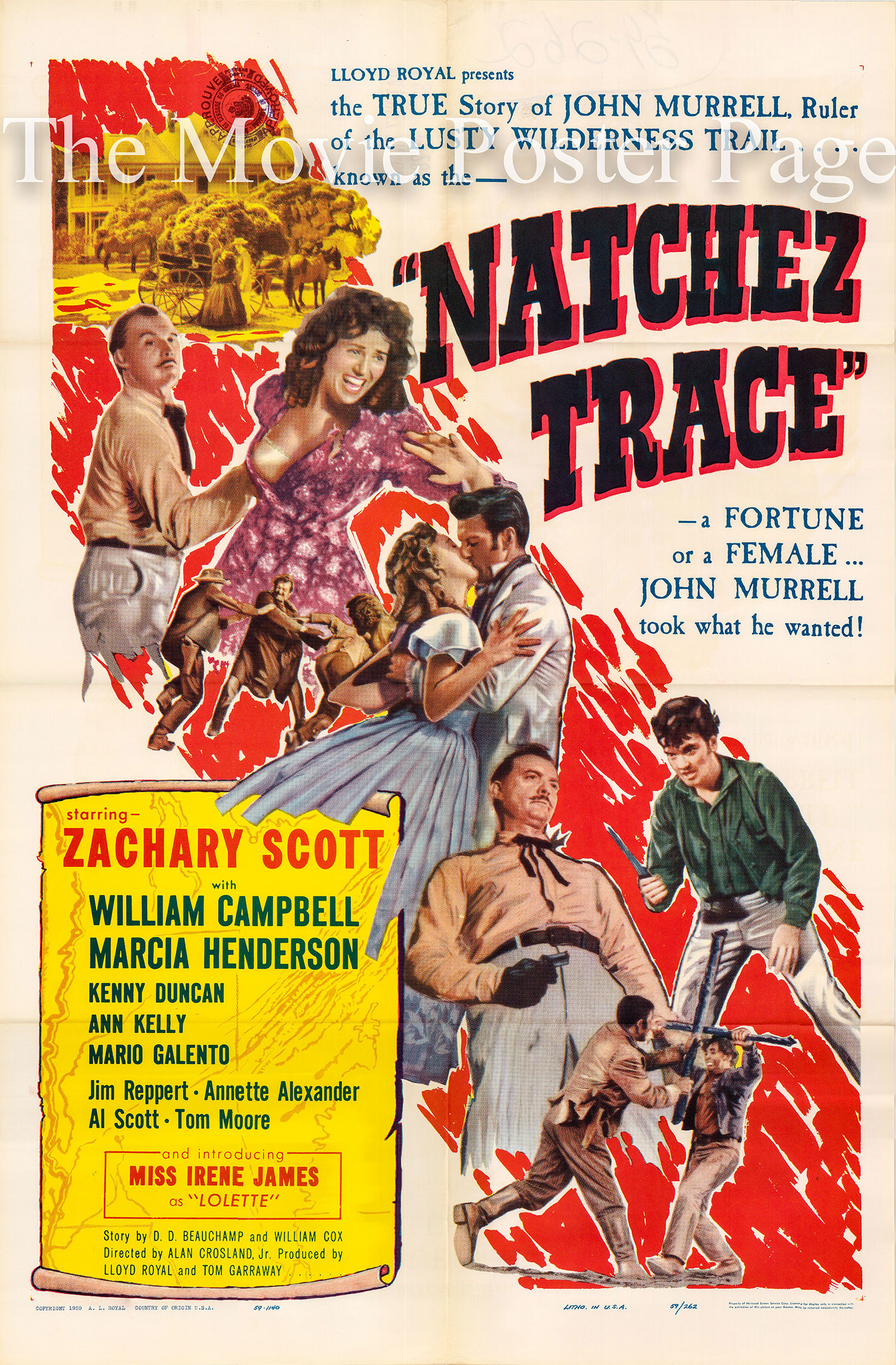 Pictured is a U.S. one-sheet promotional poster for the 1959 Alan Crosland Jr. film Natchez Trace starring Zachary Scott.