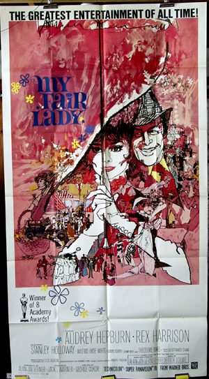 Pictured is the US three-sheet promtional poster for the 1964 George Cukor film My Fair Lady starring Audrey Hepburn and Rex Harrison.