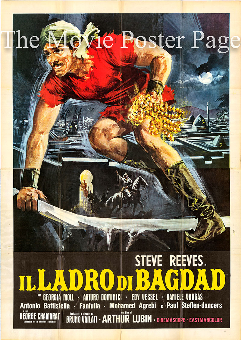 Pictured is an Italian four-sheet poster for the 1961 Arthur Lubin and Bruno Vailati film The Thief of Baghdad starring Steve Reeves as Karim.