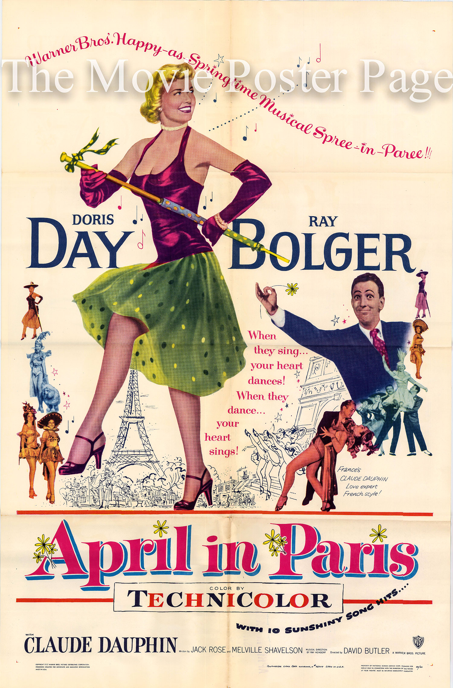 Pictured is a US one-sheet poster for the 1952 Ray Butler film April in Paris starring Doris Day and Ray Bolger.