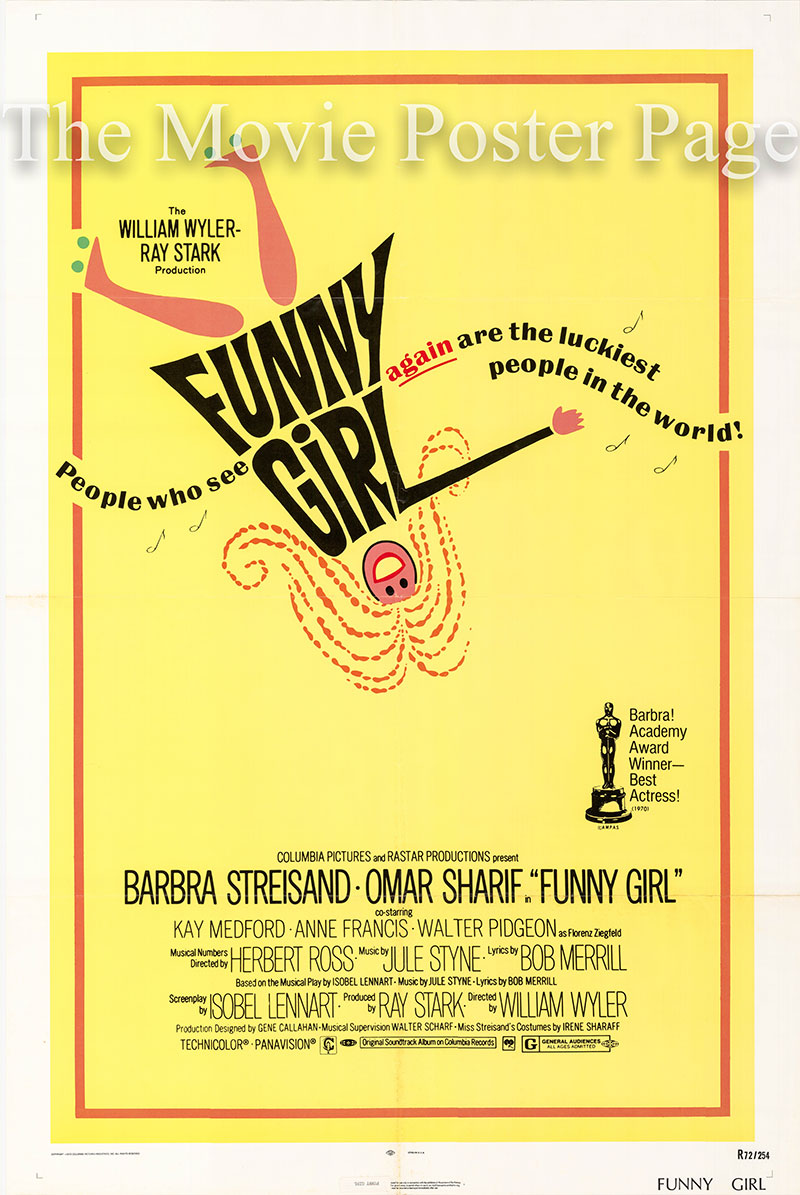 Pictured is a US one-sheet poster for a 1972 rerelease of the 1968 William Wilder film Funny Girl starring Barbra Streisand.