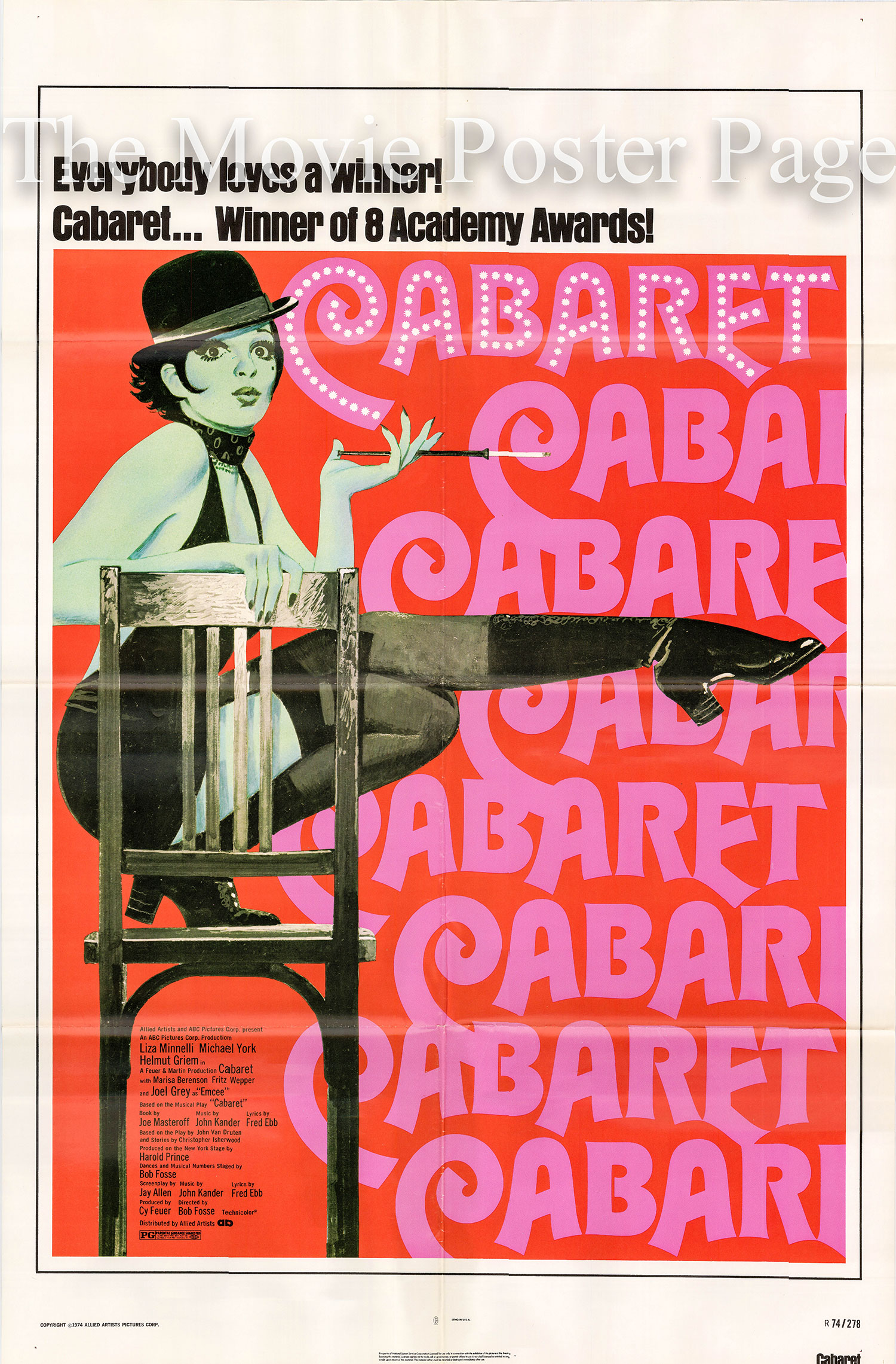 Pictured is a US promotional poster for a 1974 rerelease of the 1972 Bob Fosse film Cabaret starring Liza Minnelli.