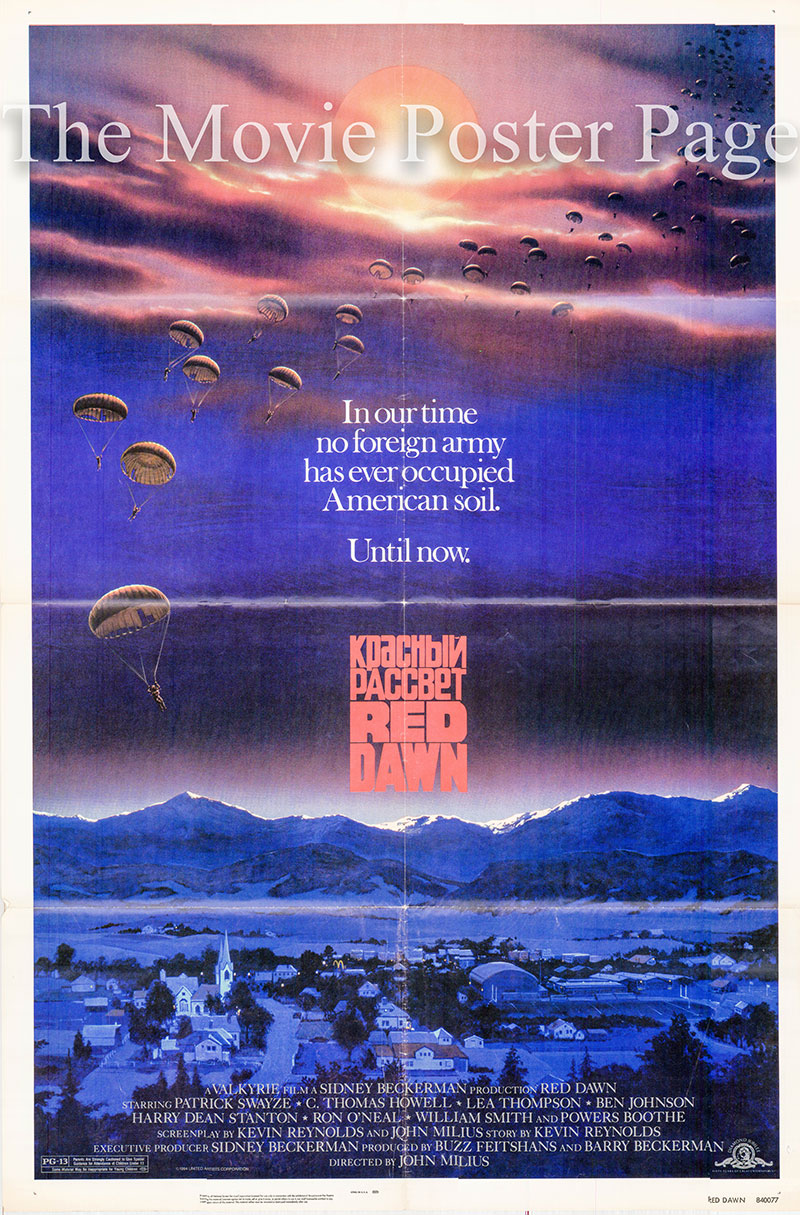 Pictured is a US promotional poster for the 1984 John Milius film Red Dawn starring Partick Swayze.> <h3> <p><center><p><iframe src=