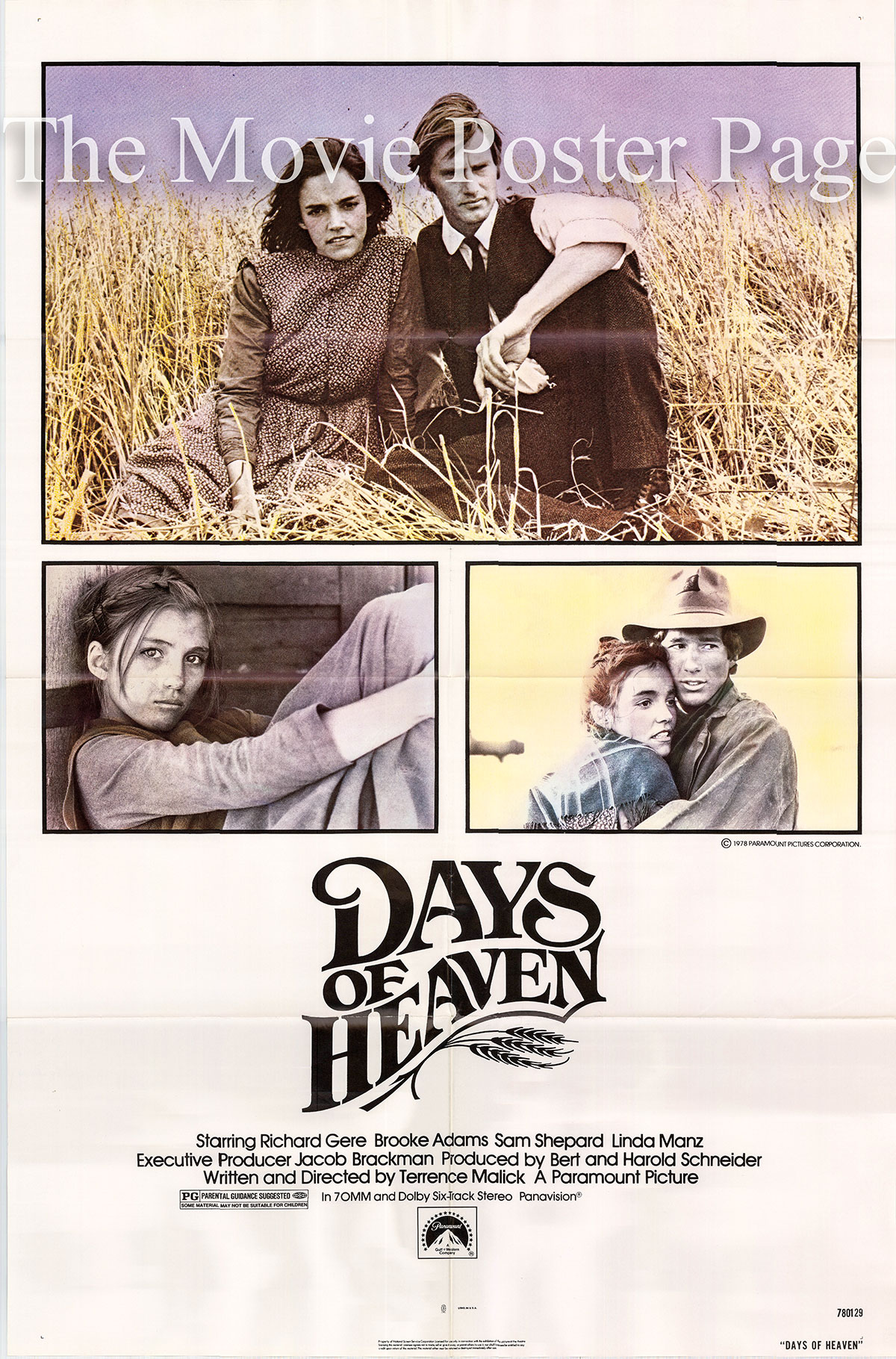 Pictured is a US one-sheet poster for the 1978 Terence Malick film Days of Heaven starring Richard Gere as Bill.