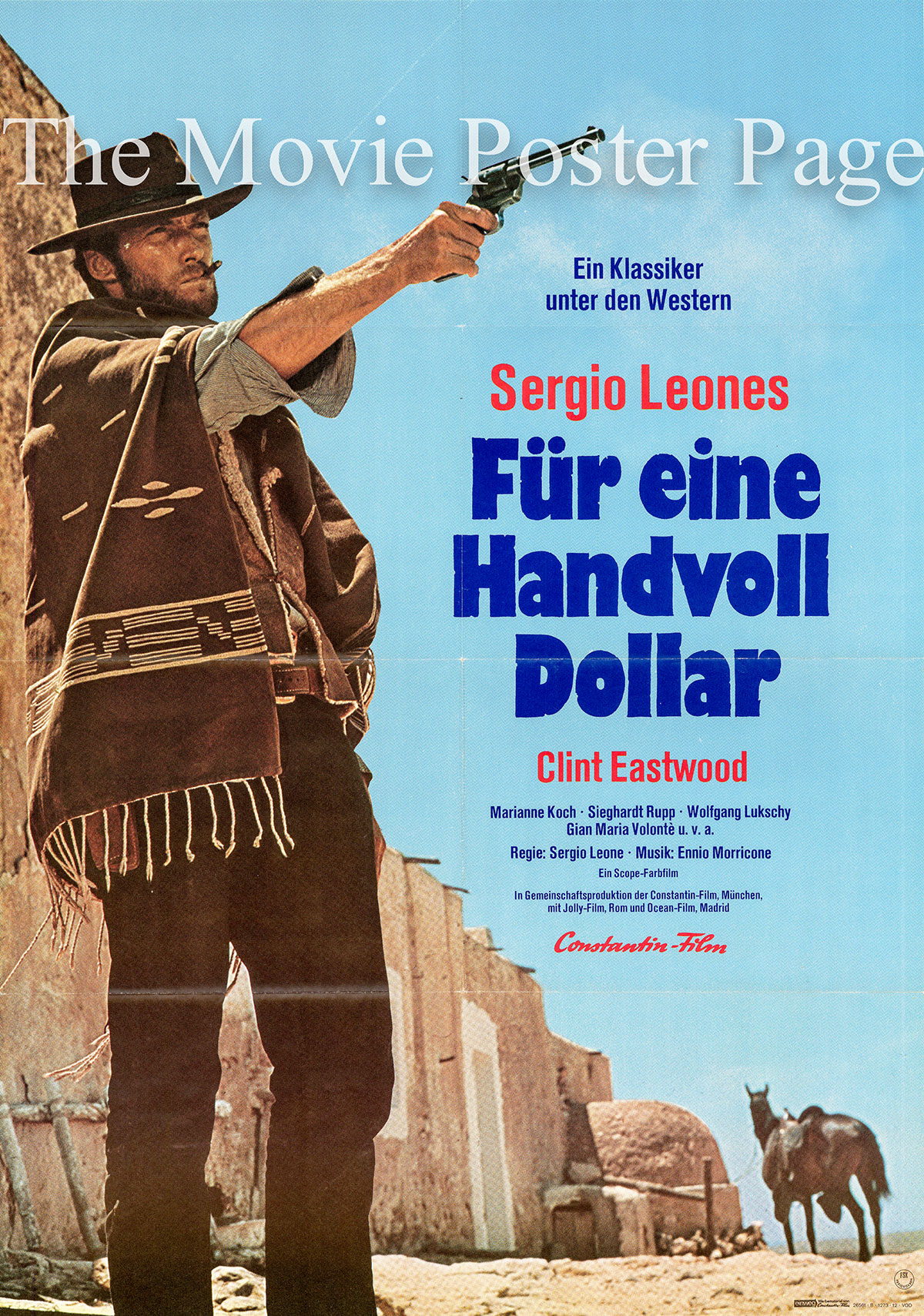 Pictured is a German one-sheet poster for a 1972 rerelease of the 1964 Sergio Leone film A Fistful of Dollars starring Clint Eastwood as Joe.