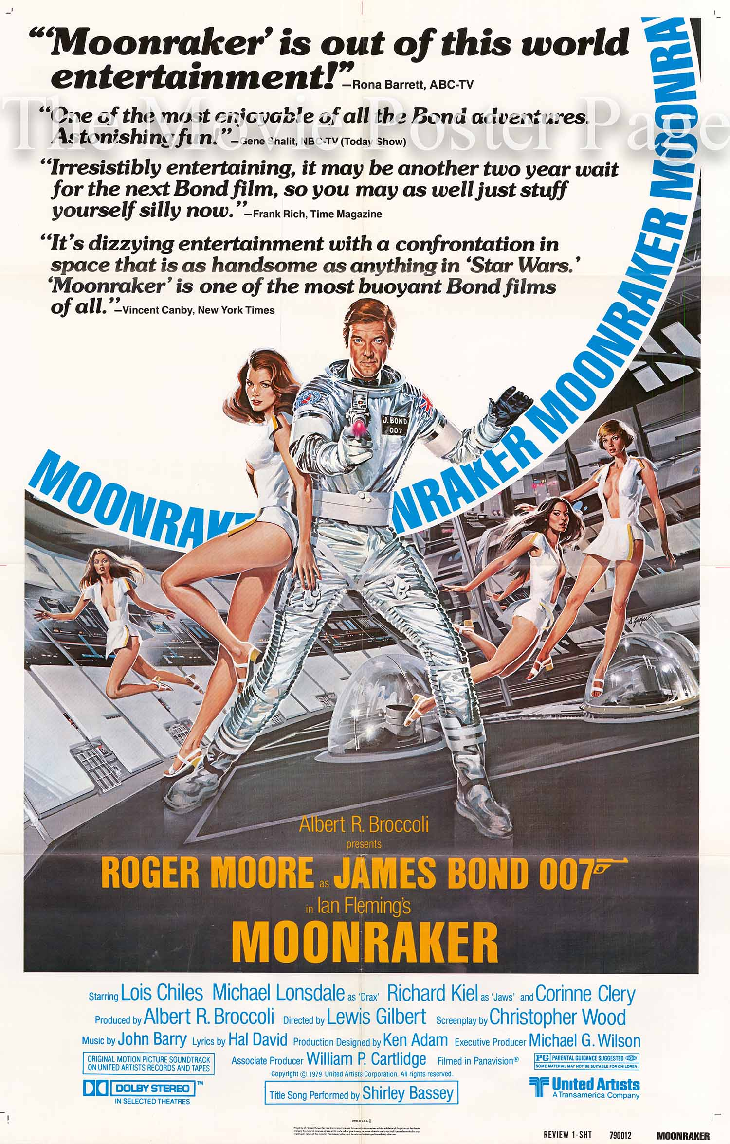 Pictured is a US one-sheet reviews poster for the 1979 Lewis Gilbert film Moonraker starring Roger Moore as James Bond.