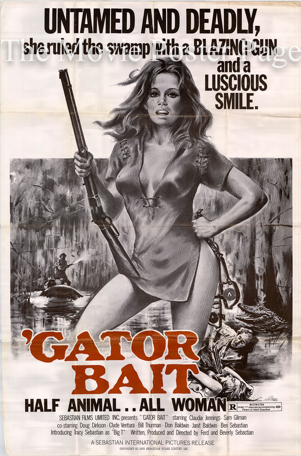 Pictured is a US 40x60 poster for the 1974 Beverly and Ford Sebastian film Gator Bait starring Claudia Jennings as Desiree Thibodeau.
