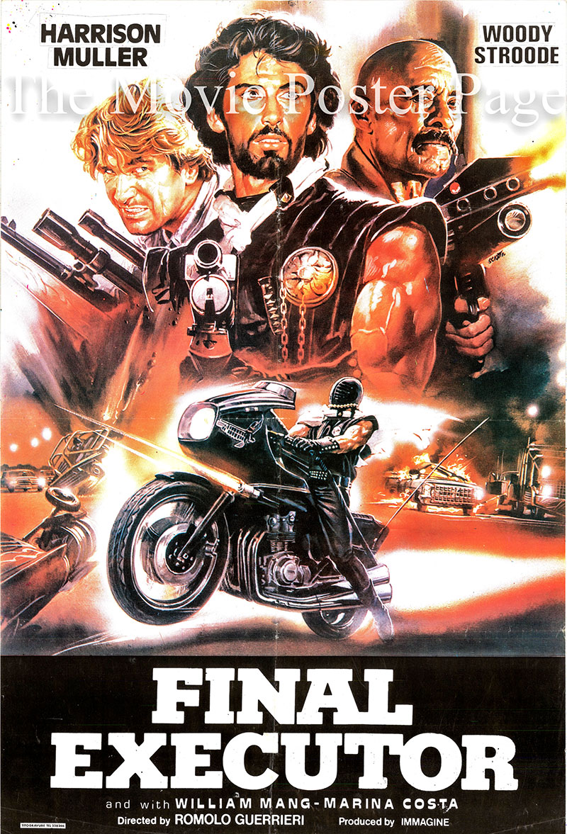 Pictured is a Lebanese promotional poster for the 1984 Romolo Guerrieri film The Final Executor, starring Harrison Muller.