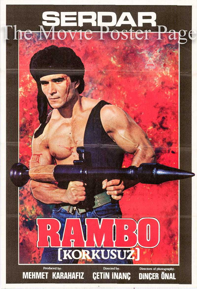 Pictured is a Turkish promotional poster for the 1986 Cetin Inac film Rampage [Korkusuz] starring Serdar Kebapcilar.