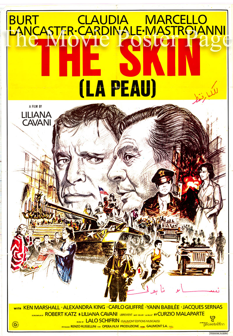 Pictured is a Lebanese promotional poster for the 1981 Liliana Cavani film the Skin, starring Marcello Mastroianni.
