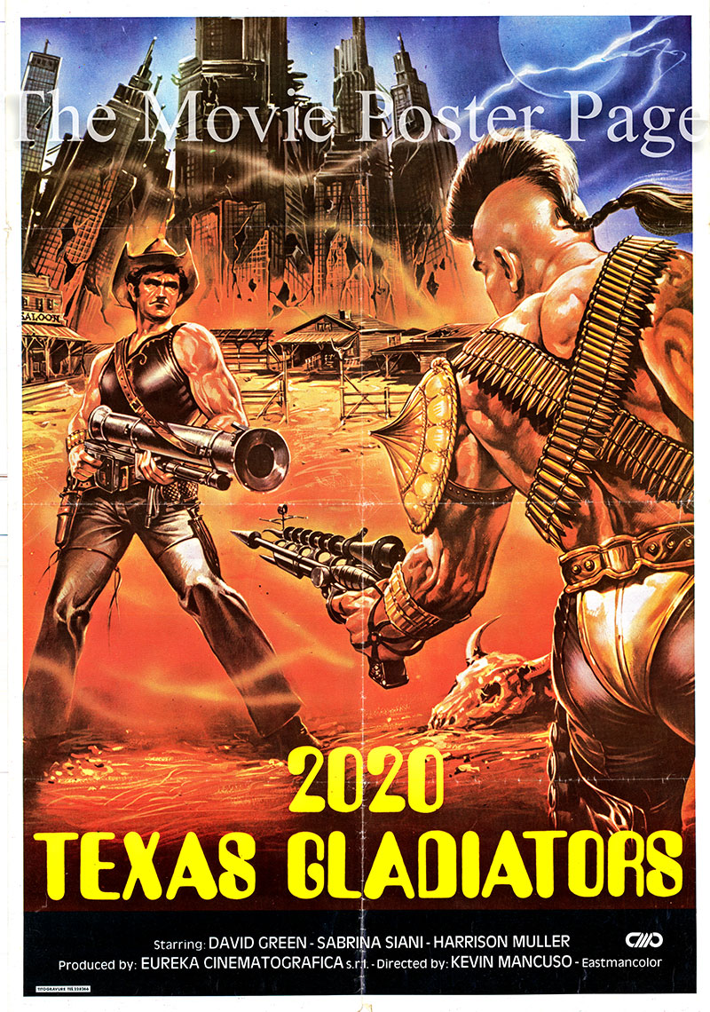 Pictured is a Lebanese promotional poster for the 1982 Joe D'Amato film Texas Gladiators, starring Al Cliver.
