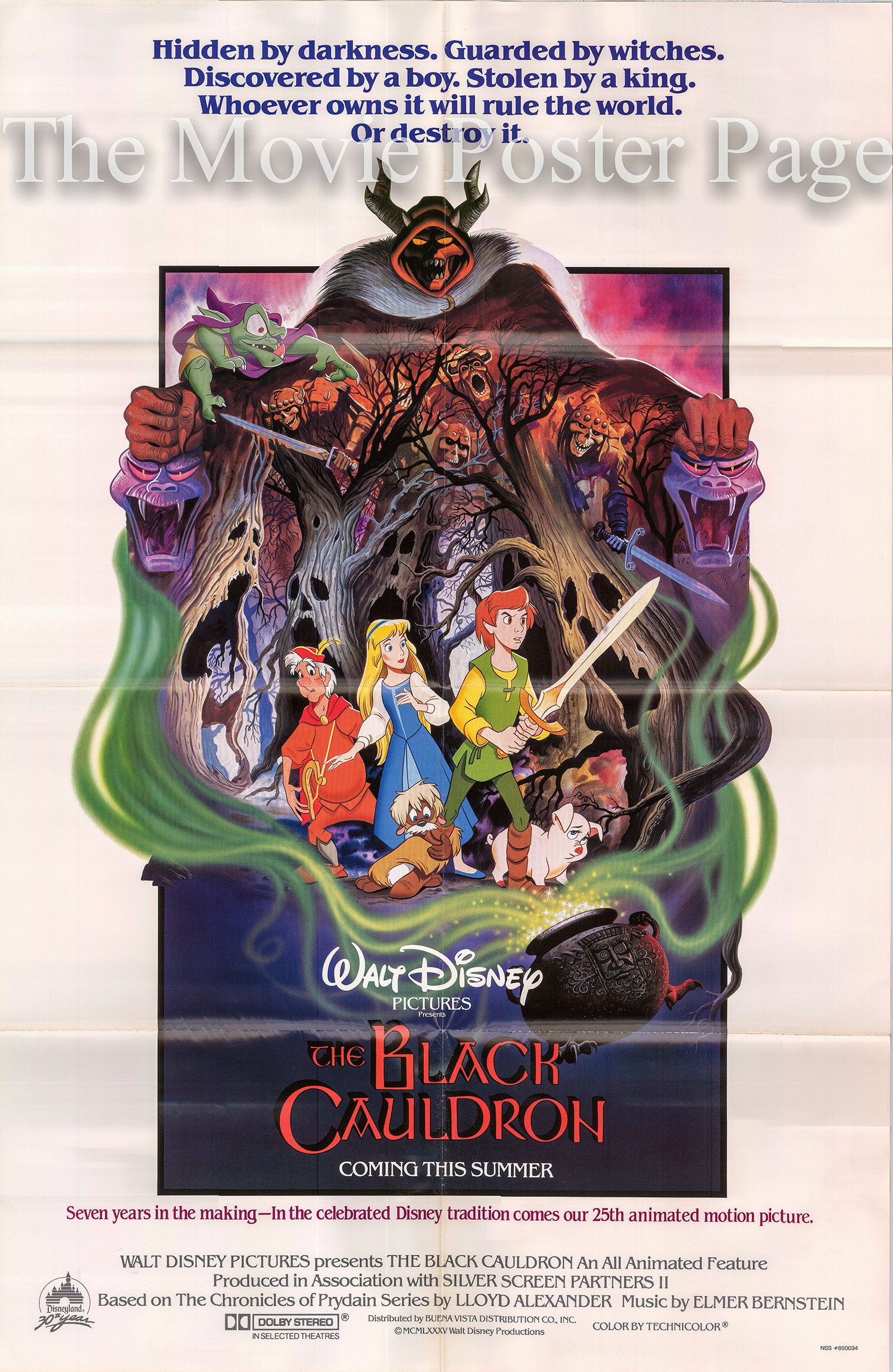 Pictured is a US advance one-sheet poster for the 1985 Ted Berman and Richard Rich film The Black Cauldron, starring Grant Bardsley as the voice of Taran.