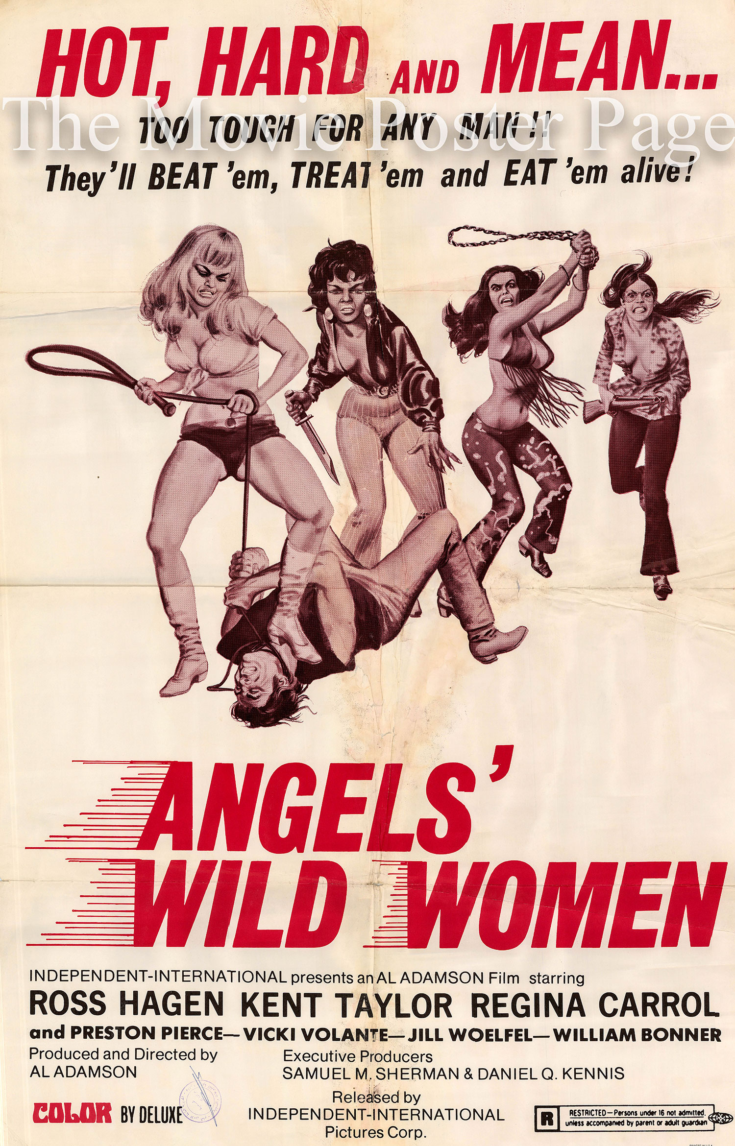 Pictured is a US one-sheet poster for the 1972 Al Adamson film Angel's Wild Women starring Ross Hagen.