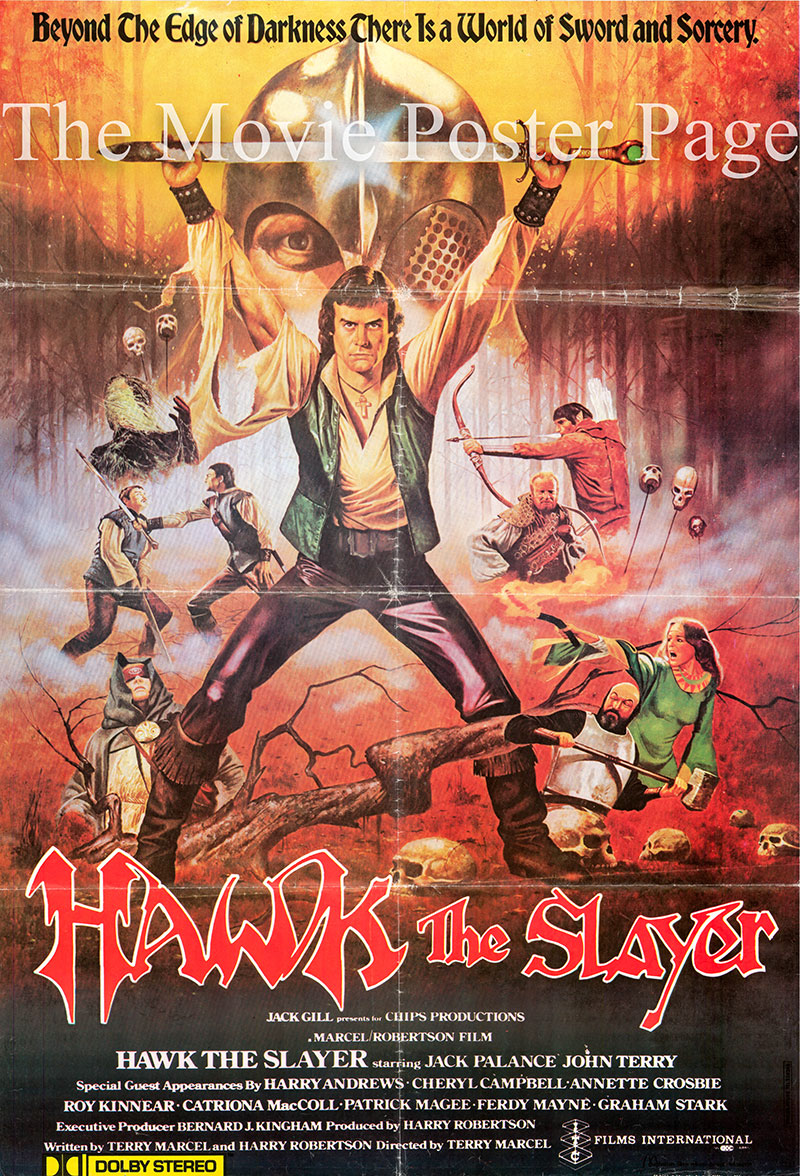Pictured is an Italian one-sheet poster for the 1980 Terry Marcel film Hawk the Slayer starring Jack Palance.