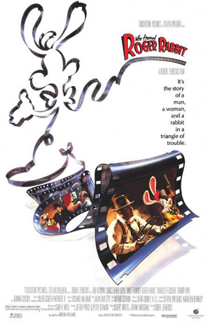 Pictured is a US one-sheet promotional poster for the 1988 Robert Zemeckis film Who Framed Roger Rabbit, starring Bob Hoskins.