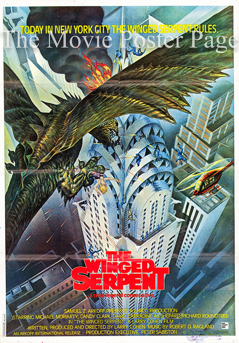 Pictured is an Italian one-sheet poster for the 1982 Larry Cohen film The Winged Serpent starring David Carradine.