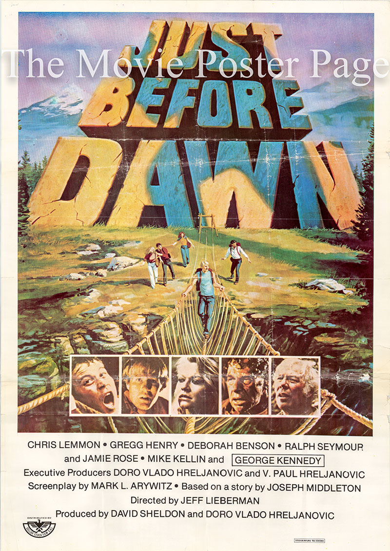 Pictured is a Lebanese one-sheet poster for the 1981 Jeff Lieberman film Just before Dawn starring George Kennedy as Roy McLean.